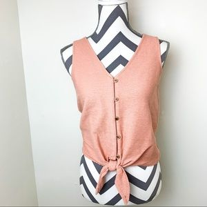 Madewell texture & thread button front tie tank XS